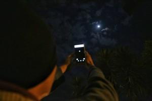 Cristiano Tomaz registra o eclipse com seu celular