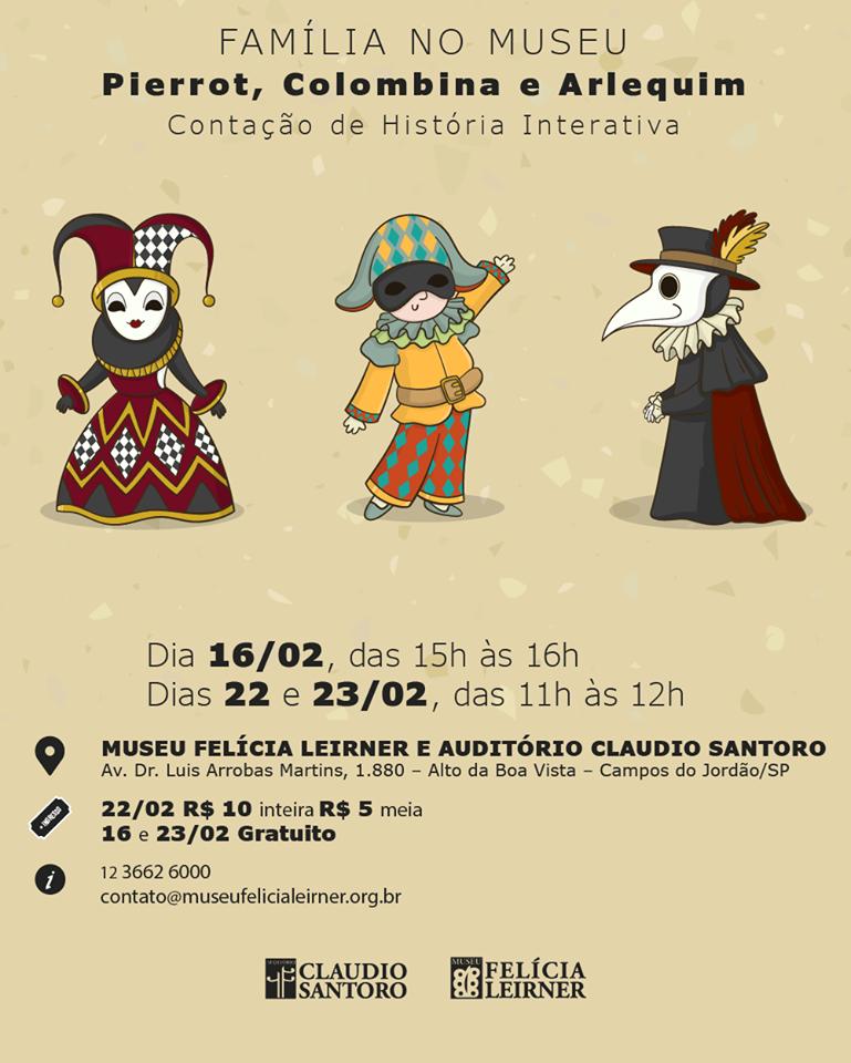 Família no Museu - Colombina, Pierrot e Arlequim @ Museu Felícia Leirner / Auditório Claudio Santoro